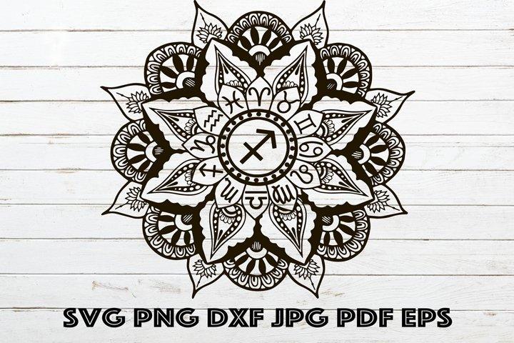 Mandala Sagittarius SVG, Mandala Zodiac SVG, Zodiac for Cric