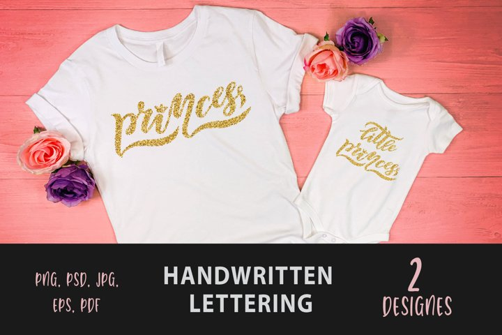 LITTLE PRINCESS QUOTE sublimation with golden glitter effect