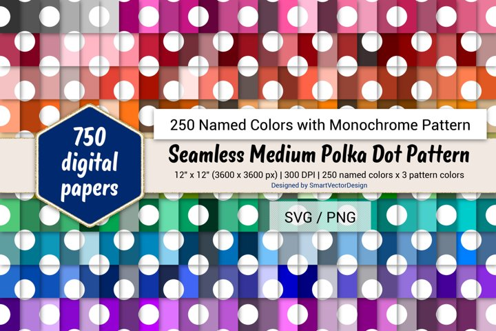 Seamless Medium Polka Dot Paper - 250 Colors with Pattern