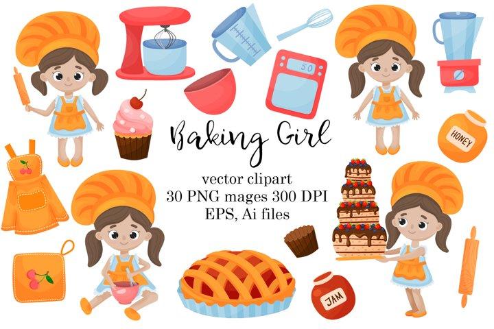 Baking Girl Vector Clipart