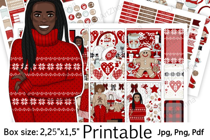 African American Merry Christmas Sticker Box Size 2,25x1,5