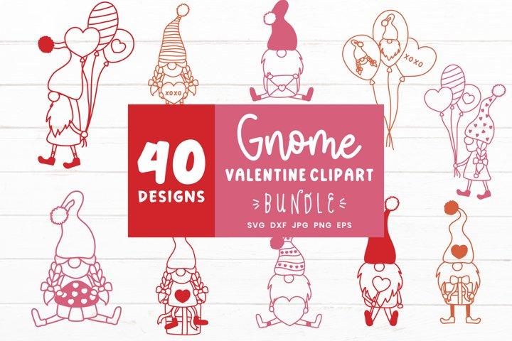 Valentines Gnomes Clipart | Valentines Day Svg Bundle