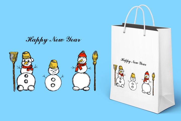 Three snowmen. Winter illustration