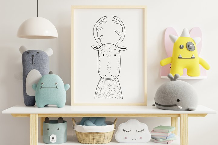 Wall art,Cute Reindeer animal clip art