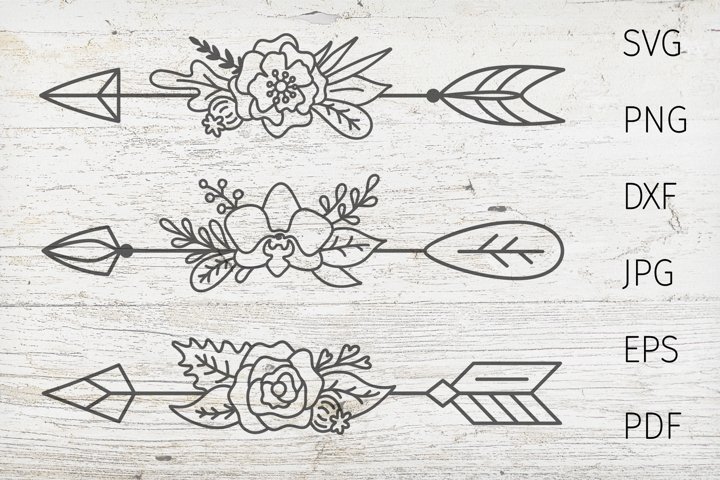 Arrow svg cut files. Boho arrow, dividers svg, flower arrow.