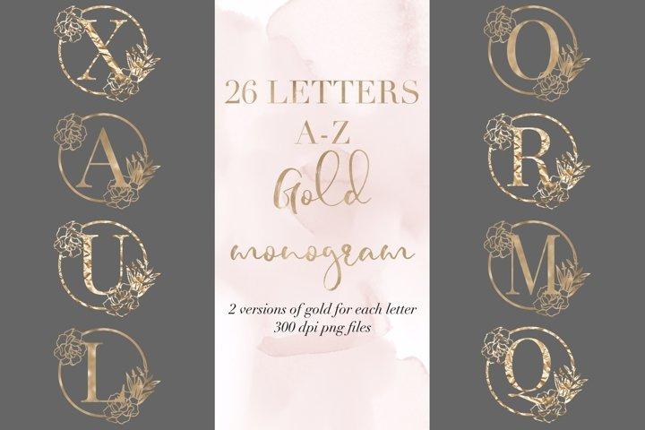 Bundle of 26 letters peony gold monogram, gold alphabet png
