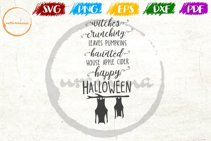 Witches Crunching Leaves Pumpkins Halloween Quote Art