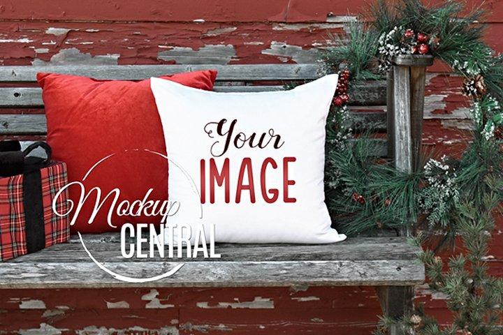 Blank White Square Mockup Christmas Pillow JPG