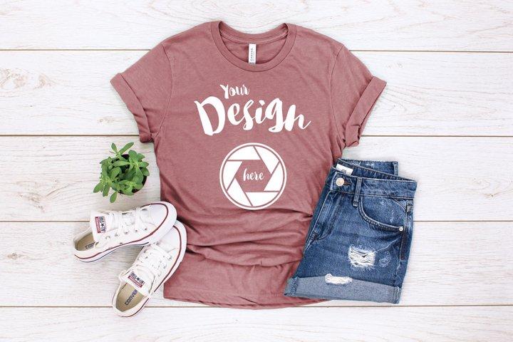 Heather Mauve Canvas 3001 T Shirt Mockup