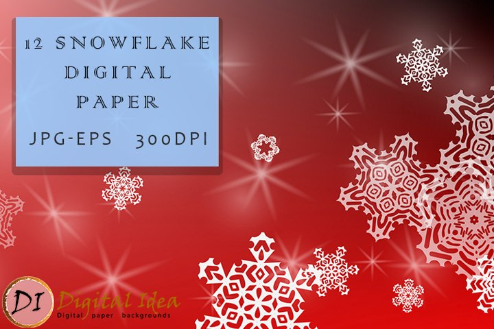 Christmas Backgrounds. 12 snowflake digital paper