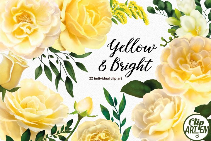 Yellow Roses Floral Set 22 PNG images, rustic flowers leaves