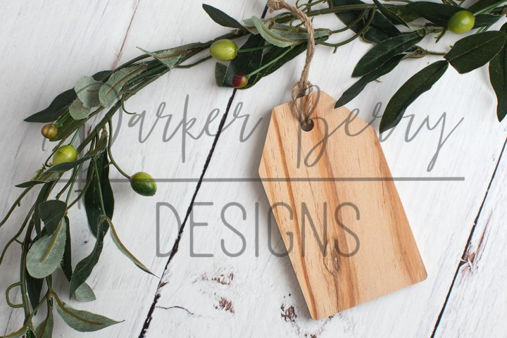 One Blank Wood Gift Tag with Olive Leaves Mock up