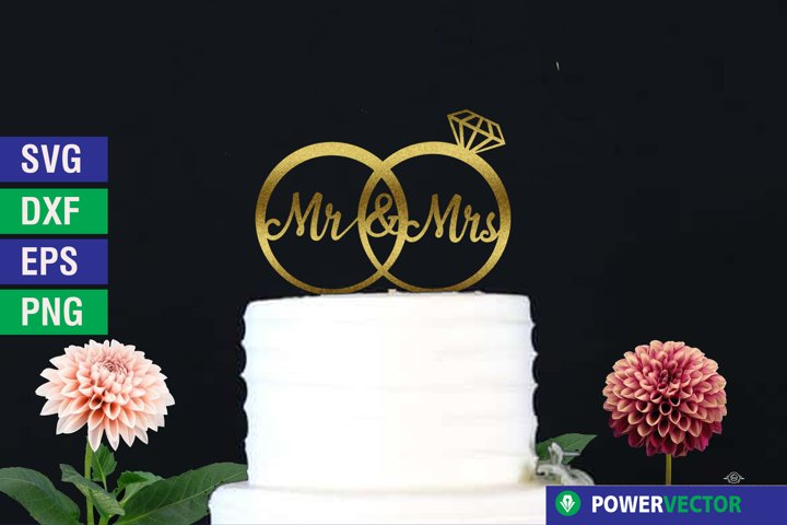 Mr and Mrs SVG - Wedding Cake Topper Cut File