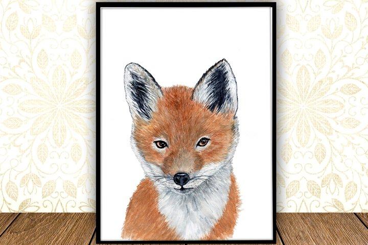 Baby Fox animal digital print Forest watercolor animals