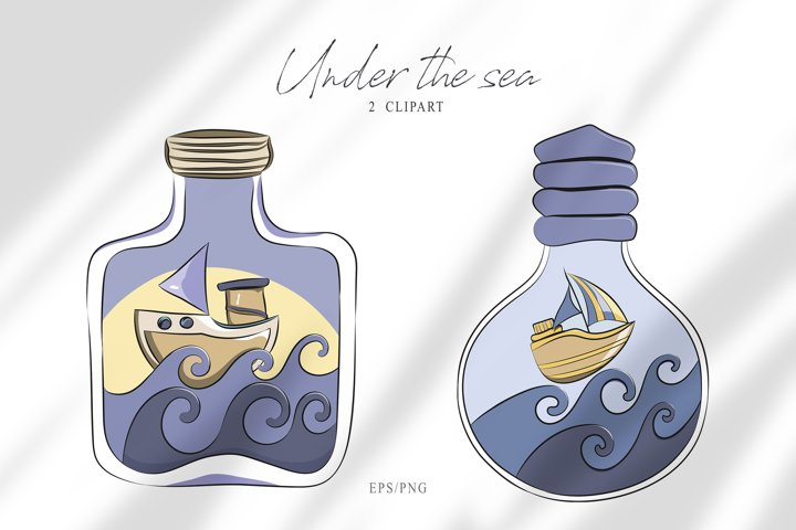 Digital underwater clipart. Fantasy sailboat illustration
