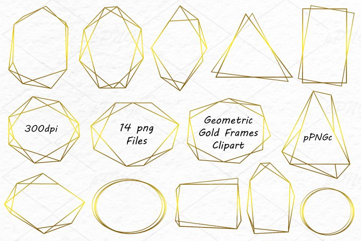 Geometric Gold Frames Clipart