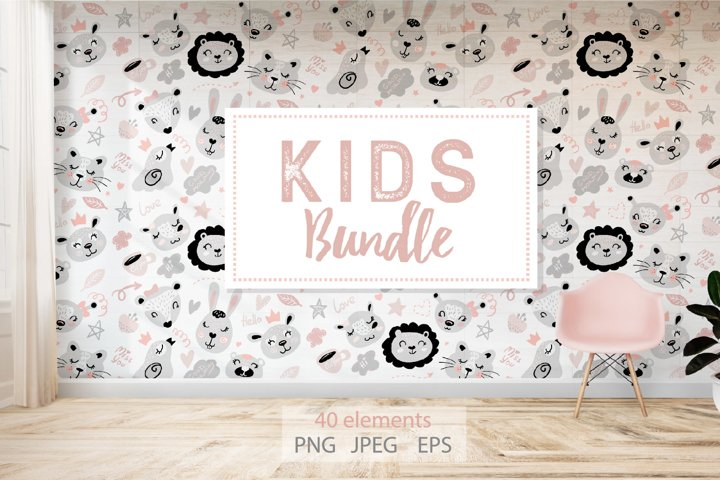 Kids Bundle Digital Animals Pattern and illustrations