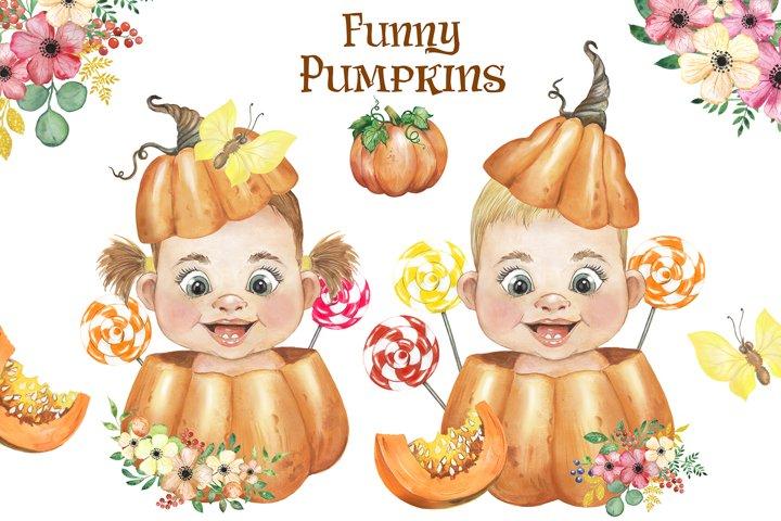 Pumpkin watercolor clipart. Children. Thanksgiving.Halloween