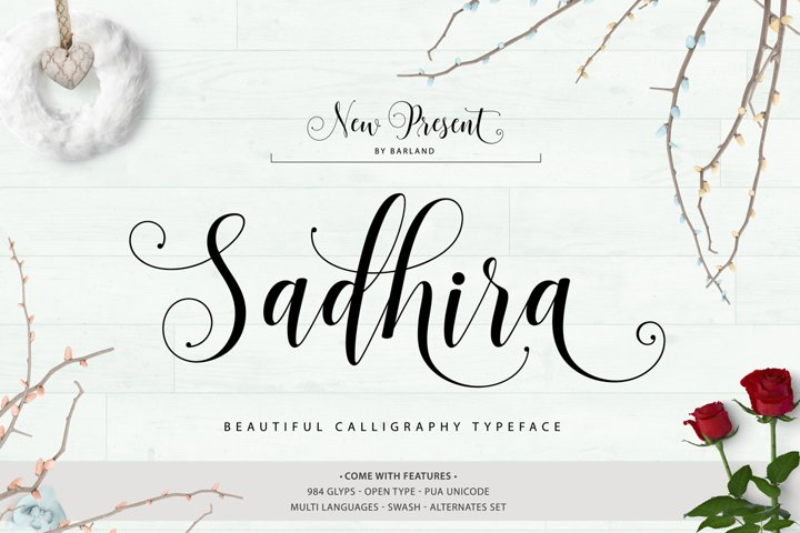 Sadhira Script Calligraphy Typeface - Free Font of The Week Font