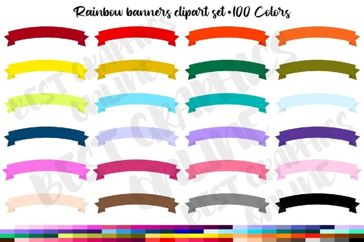 100 Rainbow Banners Clipart Set, Curved banners, Labels