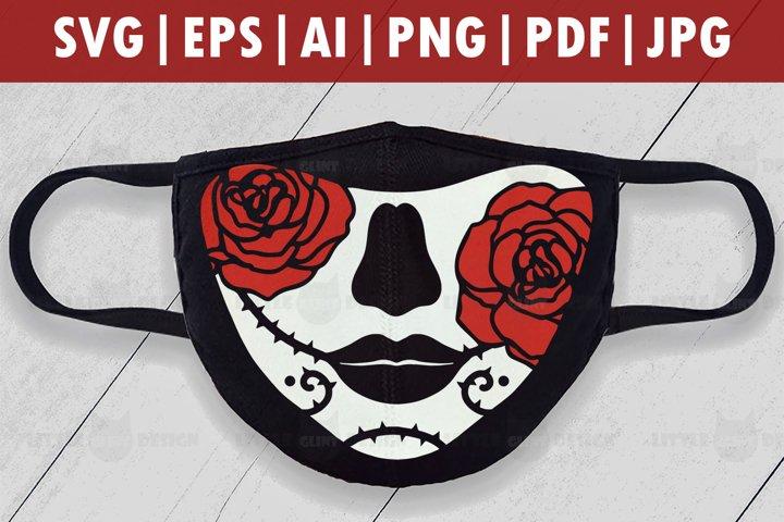 Halloween Rose Mask SVG, Skull Face mask svg, Skull Clip Art