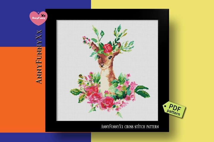 Deer cross stitch pattern PDF, Boho cross stitch