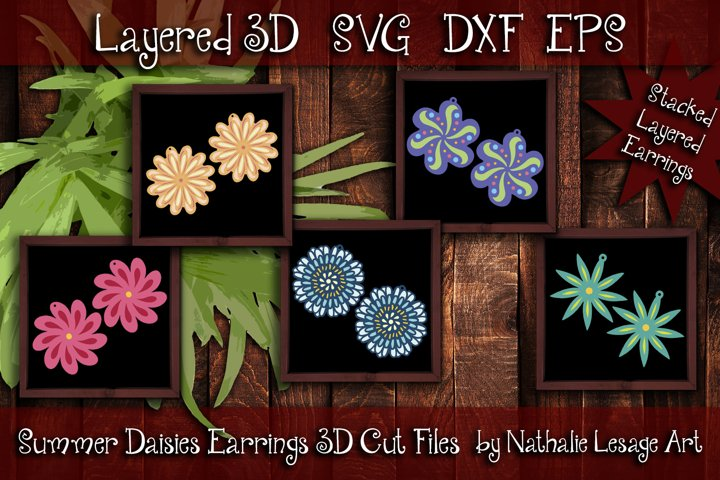 Stacked Earrings Bundle 3D Layered SVG Summer Daisies Vol 1