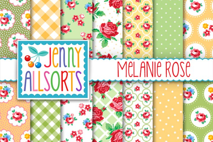 Shabby Chic Rose Papers - Yellow & Green - Melanie Rose