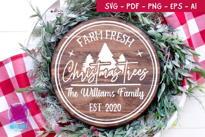 Farm Fresh Christmas Wood Round Sign , Christmas SVG