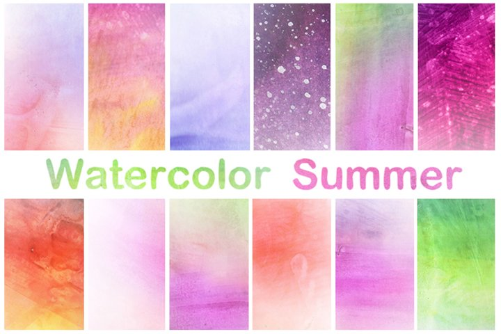 Watercolor Digital Papers Scrapbook Hand Painted