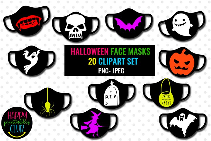 Halloween Face Masks Cliparts- Face Masks Halloween Clipart