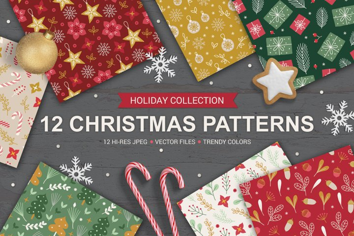 12 Christmas Seamless Patterns
