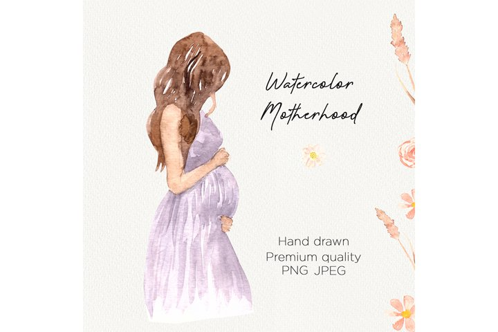 Watercolor Maternity clipart, Pregnancy woman in dress