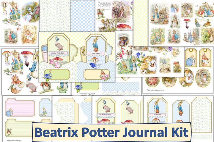 Beatrix Potter Junk Journal Kit with ephemera. JPEG, PNG PDF