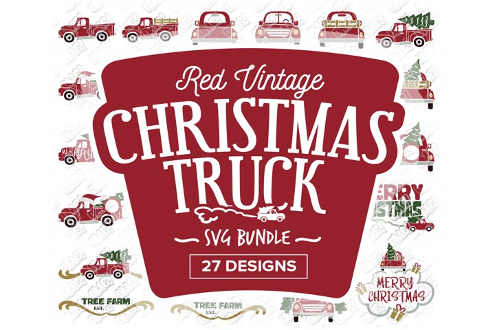 Christmas Truck SVG Red Vintage in SVG, DXF, PNG, EPS, JPEG