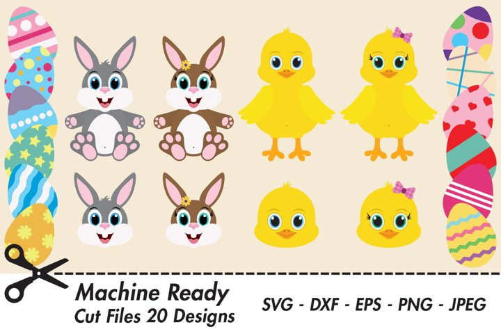 Easter SVG Bundle Cut Files, Bunnies, Chickens, Eggs, Faces