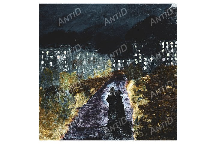 The couple walks on the outskirts of the night city