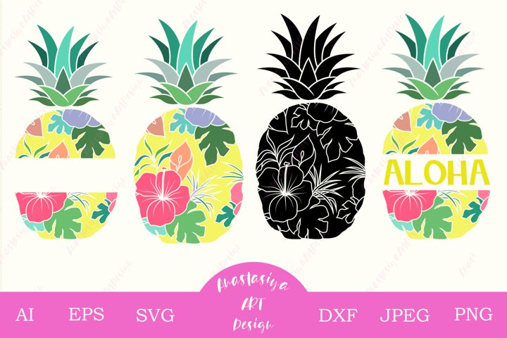 Pineapple clipart svg, Tropical flower, Aloha summer dxf