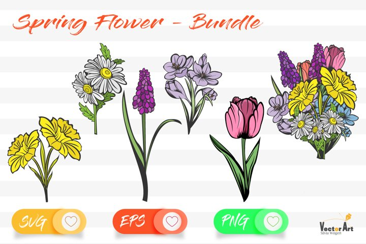 Spring Flower - Bundle - Cut Files with 2 Layers