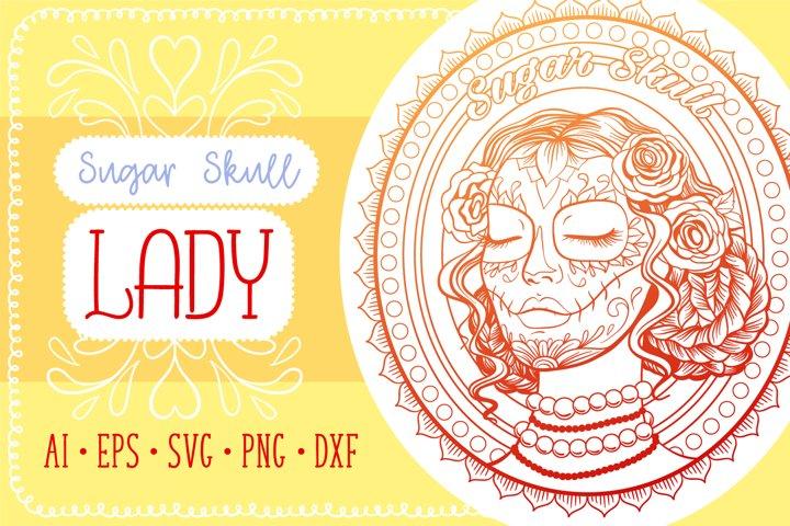 Sugar Skull Lady Coloring Page SVG cut file