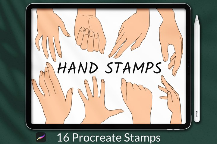 Procreate Hands Stamp Brushes, Guide Brushes