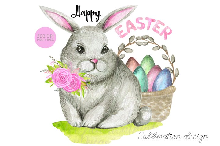 Happy Easter Bunny Basket PNG