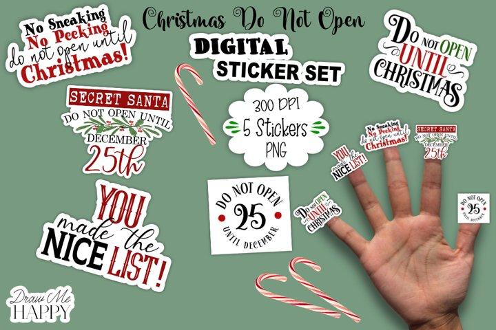 Christmas Sticker Bundle, Christmas Stickers, Do Not Open