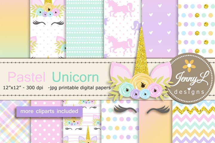 Pastel Unicorn Faces Digital Papers and Unicorn Clipart SET