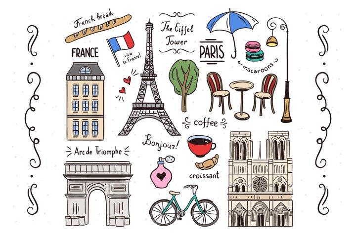 Paris Illustrations Clipart Set