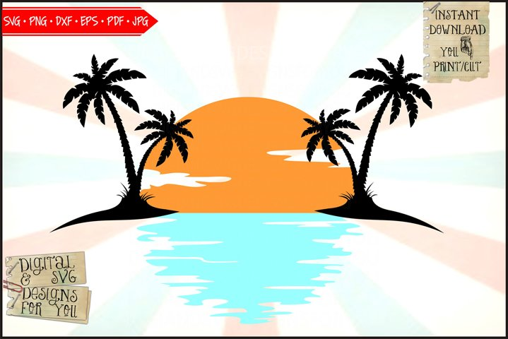 Tropical island sunset | Palm trees | Sunset svg