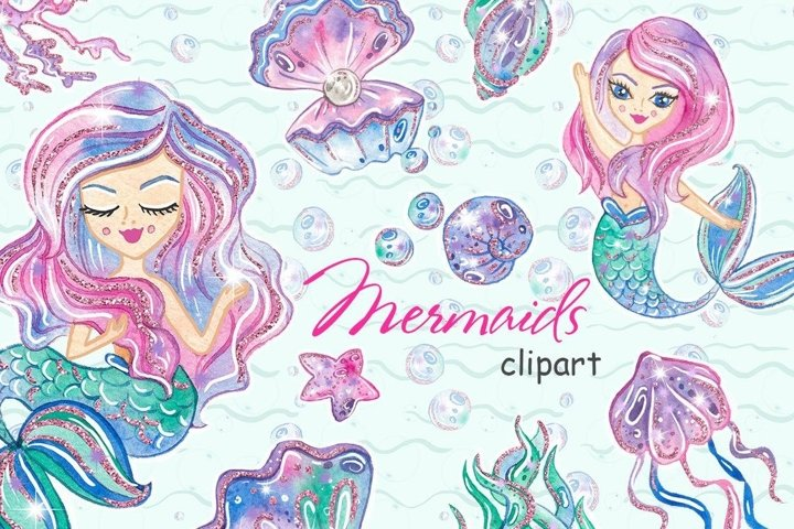 Mermaid CLIPART Watercolor Sea Underwater Illustration - PNG