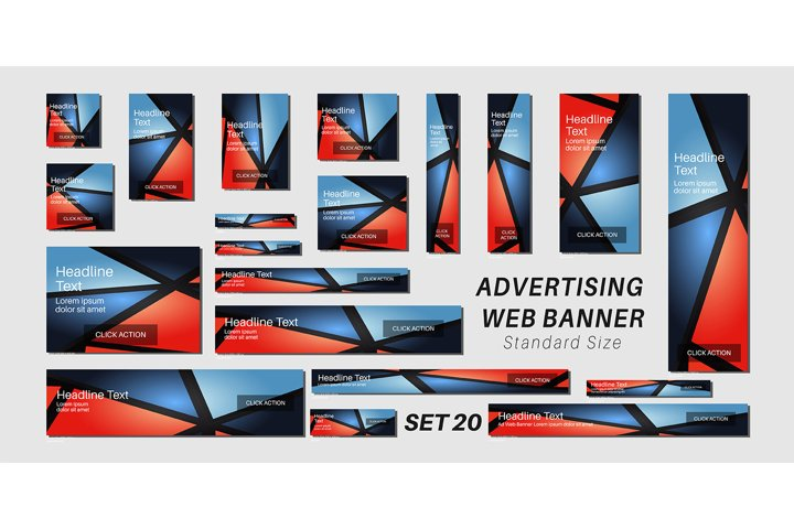 set of creative web banners in standard sizes. vector design