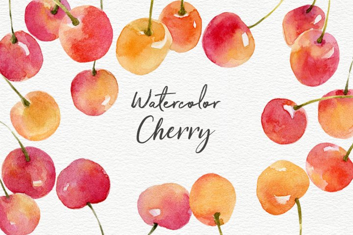 Cherry watercolor clipart collection