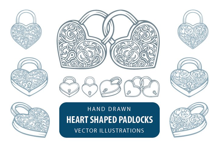 Heart shaped padlocks and keys with vintage floral patterns.